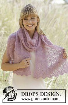 Ponchos & Shawls - Free knitting patterns and crochet patterns by DROPS Design Shawl Patterns, Knitting Patterns Free, Free Pattern, Crochet Patterns, Knitting Tutorials, Drops Design, Magazine Drops, Lace Scarf, Lace Shawls