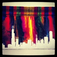 Silhouette of the Chicago Skyline, Melted Crayon Art, Special Order for A.Semon