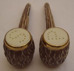 Rare Salt And Pepper Shakers | Vintage Novelty Stag Horn Salt And Pepper Shakers Box Set - Salt ...