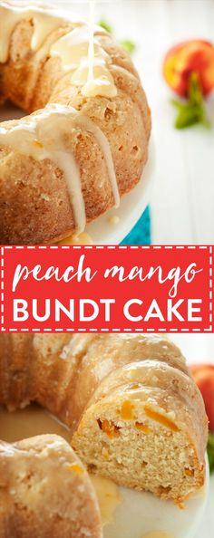 Peach Mango Bundt Cake | asimplepantry.com #SwapMilk4Silk AD @walmart