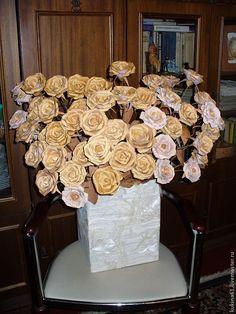 Купить розы из бересты - береста, сувениры и подарки, цветы ручной работы, разноцветный, букет цветов
