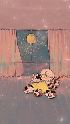 Jimin and calicos 🌕 Bts Wallpapers, Cool Wallpapers For Phones, Jimin Fanart, Kpop Fanart, Bts Chibi, Bts Drawings, Kawaii Drawings, Kawaii Wallpaper, Cartoon Wallpaper