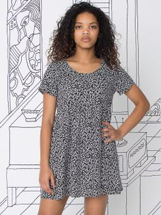 Nathalie Du Pasquier Printed Rayon Babydoll Dress. #AmericanApparel