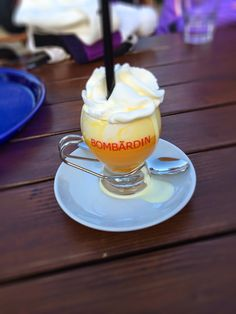 Bombardino, a classic Italian hot sweet drink in the Dolomites