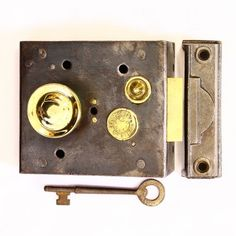 A nice Victorian iron night latch, complete with turning latch, deadlocking snib, cast iron keep and key. RD No 251748, dated 1895 SOLD