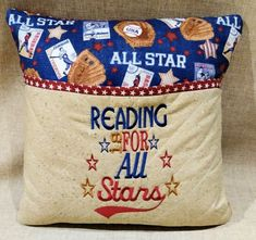 "Great Baseball reading pillow for the Baseball lover. This wonderful ""reading"" pillow is a great way to encourage a child or kid and make it fun to read. There is no better way to curl up with a good book than with a comfy pillow! Tuck a favourite book, e-reader and flashlight in"