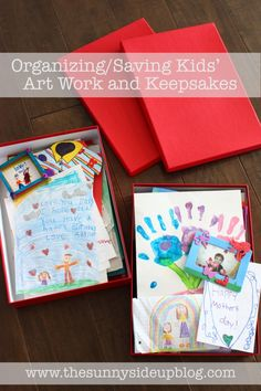 Organizing and saving kids' art work and keepsakes - a system for it all!  (Sunny Side Up)