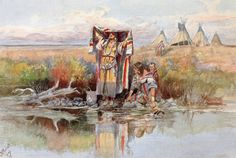 Water Girl 1895 Acrylic Print by Russell Charles Marion. All acrylic prints are professionally printed, packaged, and shipped within 3 - 4 business days and delivered ready-to-hang on your wall. Helena Montana, Great Falls, Missouri, Charles Marion Russell, Illustrator, Native American Artists, American Indians, Western Artists, Girl In Water
