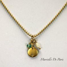 Gold Disc Diamond, Apatite  baroque Pearl by MarielleDeParis,  #goldDiscNecklace #DiamondDiscNecklace #GoldApatiteNecklace https://www.etsy.com/shop/MarielleDeParis?ref=si_shop