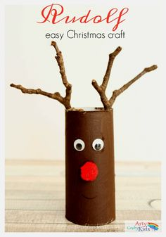 Easy Paper Tube Rudolf Christmas Craft- the perfect craft for toddlers and preschoolers! they will love using their collection of twigs to help transform their paper rolls into reindeers. crafts for preschoolers Easy Paper Roll Rudolph Christmas Craft Christmas Arts And Crafts, Preschool Christmas, Simple Christmas, Kids Christmas, Holiday Crafts, Christmas Gifts, Easy Christmas Crafts For Toddlers, Christmas Vacation, Christmas Paper