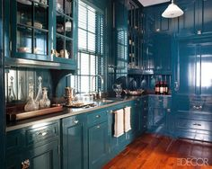Cabinets painted Hague Blue by Farrow & Ball. A Miles Redd Home Hits The MLS!- The Glam Pad. FandB Hague blue