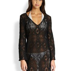 MILLY Crochet Lace Tunic Black $240 LARGE AUTHENTIC DESIGNER SELECTION VISIT:  www.shorecasuals.com