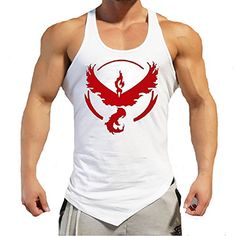 Entrenamiento para hombre Pokemon Go Team Valor Equipo Mystic equipo instinto aptitud de la gimnasia sin mangas Pokeball Deportes singlete (M, blanco Team Valor) #camiseta #starwars #marvel #gift