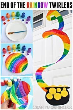 End of the Rainbow Paper Plate Twirler (St. Patrick's Day Craft for Kids) – … Ende des Regenbogen Pappteller Twirler (St. March Crafts, St Patrick's Day Crafts, Family Crafts, Crafts To Do, Crafts Cheap, Holiday Crafts, Holiday Ideas, Saint Patricks Day Art, St. Patricks Day