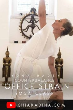 A yoga practice before or after the office: counterbalance the long hours of sitting and slowly get into the habit of balancing out your pelvis and becoming aware of your shoulder and head position as you work. #officeyoga #chiaradina #youtube #yogaclass
