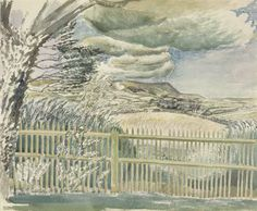 Eric Ravilious:Firle Beacon, 1927 The Sussex Downs