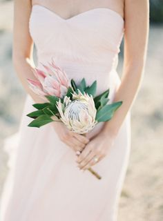 Pretty proteas: http://www.stylemepretty.com/little-black-book-blog/2016/05/13/engagement-rings-chic-competition/ | Photography: Oliver Fly Photography - http://oliverfly.com/