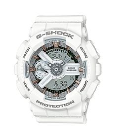 Men's Wrist Watches - Casio GShock White and Rose Dial Resin Quartz Mens Watch GMAS110CM7A2 ** Want additional info? Click on the image.