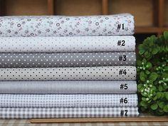7-Assorted-Gray-Nature-Serier-Charm-Cotton-Quilt-Fabric-Fat-Quarters-39-x-59