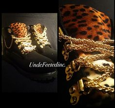 Gold Chain Timberlands by UndeFeeted on Etsy, $250.00