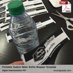 Printable Custom Water Bottle Wrapper PDF Template - Print at Hotel Printed Water Bottles, Custom Water Bottles, Sales And Marketing, Marketing Ideas, Hotel Branding, Customer Engagement, Client Gifts, Label Templates, Bottle Labels