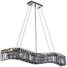 Suspendu avec cristal fumé couleur gris. Structure couleur chrome. Contemporary Chandelier, Chrome, Ceiling Lights, Elegant, Lighting, Home Decor, Crystal, Pendant Light Fitting, Colour Gray