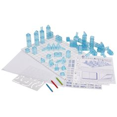 Young Architect City Planner Use colored pencils, templates and traceables to design and layout your town, then organize your 3D buildings. Create your own unique buildings by stacking 7 different structures in innumerable ways! Add vinyl cling facades to detail offices, apartments, stores, fire stations and more. Includes 49 stackable buildings and all the add-ons you'll need for hours of imaginative playtime!