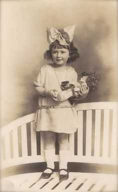 1924 Original Vintage French RARE Real Photograph from Marseille… Adorable Young Girl Studio Portrait with Fancy Doll   Saved from Etsy