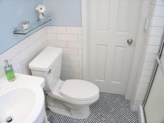 subway tile, blue walls, checked floor tile