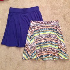 **Skirt Bundle** 2 Mossimo Supply Co Skater Skirts BUNDLE!!!! 2 Mossimo Supply Co skirts, one solid purple, the other an Aztec pattern. Flowy skater skirts with elastic waist, both size small. Both in great condition!! Each skirt is $30 originally, so this is a great deal! Mossimo Supply Co Skirts Circle & Skater