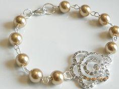Handmade Gold Pearl Crystal Bridal Pearl Flower Rhinestone Swarovski Crystal $28