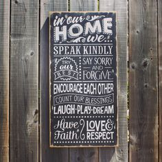 In Our Home....sign Made by The Primitive Shed, St. Catharines