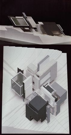 Axonometric model (sitorted model for single point perspective image to be looked as isometric)  //  Peter Eisenman: House X