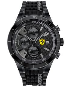 Scuderia Ferrari Men's Chronograph RedRev Evo Black Silicone Strap Watch 46mm 0830262 - Men's Watches - Jewelry & Watches - Macy's