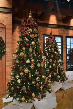 Timeless Red, Green, and Gold - Christmas Tree Decorating Ideas. Decorating the set of Good Day Sacramento with three different Christmas trees and Garden Designs Room Design RED, GREEN, AND GOLD Skinny Christmas Tree, Red And Gold Christmas Tree, Different Christmas Trees, Pencil Christmas Tree, Elegant Christmas Trees, Gold Christmas Decorations, Traditional Christmas Tree, Christmas Themes, Rustic Christmas