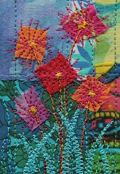 New embroidery stitches flowers appliques textile art 60 ideas Sewing Machine Embroidery, Sashiko Embroidery, Japanese Embroidery, Embroidery Applique, Embroidery Stitches, Embroidery Designs, Simple Embroidery, Machine Applique, Fabric Postcards