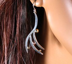 Sterling silver freeform dangle earrings with by RadiantOriginals, $40.00