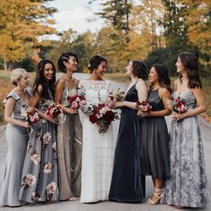 29 Mismatched Bridesmaid Dresses Your Girls Can't Say No to! is part of Mismatched bridesmaid dresses Long gone are the days when brides wear the same style and same fabrics of bridesmaid dresses - Mix Match Bridesmaids, Patterned Bridesmaid Dresses, Mismatched Bridesmaid Dresses, Black Bridesmaid Dresses, Wedding Bridesmaids, Wedding Gowns, Floral Bridesmaids, Different Colour Bridesmaid Dresses, Bridesmaid Colours