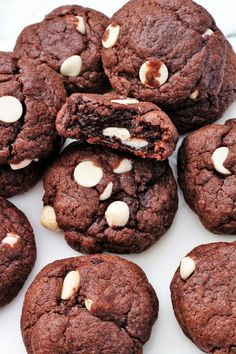 Brownie white chip cookies are a favorite of many. Chewy cookies that taste like brownies, loaded with white chips. So chewy and irresistible.