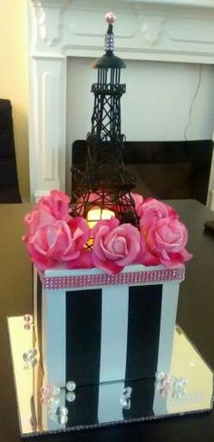 DIY Paris Quinceanera centerpiece