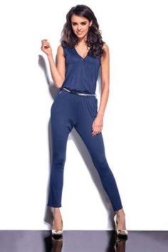 Dark Blue V-Neck Sleeveless Jumpsuit