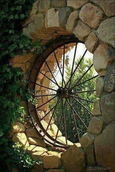 Old wagon or tractor wheel