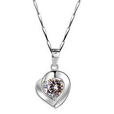 9e54db5c7caf Rommy Roland Collier en Argent Sterling 925 Plaqué Or Blanc avec Zircon  Diamant Pendentif Chaîne pour