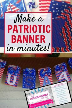 Learn how to make this easy and cheap DIY patriotic banner in just a few minutes! This cute red, white, and blue garland is perfect for the 4th of July and Memorial Day. #4thofJuly #IndependenceDay #Patriotic #DIYdecor
