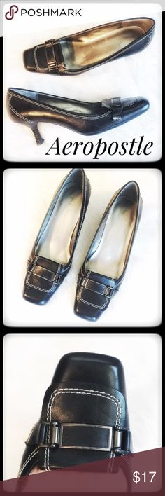 Aeropostale Black Leather Heels w classic Appeal Classic Leather Heels by Aeropostale. Sophisticated and tailored design with classic embellishments. These are in very good condition with minimal wear. Enjoy! Aeropostale Shoes Heels