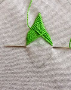 Crewel Embroidery Tutorial The first stitch that comes to my mind with the thought of embroidering a leaf is the Fishbone Stitch. It is from the family of crossed sti. Machine Embroidery Thread, Embroidery Leaf, Embroidery Stitches Tutorial, Hand Work Embroidery, Sewing Stitches, Hand Embroidery Patterns, Learn Embroidery, Embroidery Jewelry, Embroidery Techniques