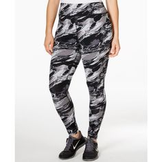 Ideology Plus Size Marble-Print Legging (44 BAM) ❤ liked on Polyvore featuring plus size fashion, plus size clothing, plus size pants, plus size leggings, marble, white pants, plus size white leggings, plus size trousers and womens plus pants