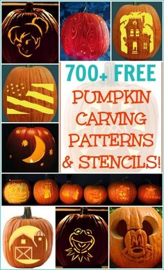 Over 700 FREE Halloween pumpkin carving patterns for skill levels from beginner to expert! Over 700 free pumpkin carving patterns. These Halloween pumpkin templates are for anyone who can carve a pumpkin, from beginners to experienced experts! Deco Haloween, Fröhliches Halloween, Holidays Halloween, Halloween Pumpkins, Halloween Decorations, Halloween Makeup, Halloween Costumes, Halloween Clothes, Halloween Labels
