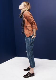 Madewell button-up motorcycle jacket worn with linen bikelane tee + Chimala® selvedge tapered jeans.