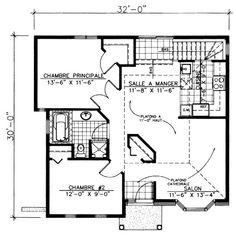 Plan de Rez-de-chaussée Bungalow plain-pied économique, moderne, 2 ...